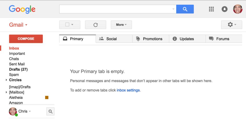 Reaching 0 inbox in GMail
